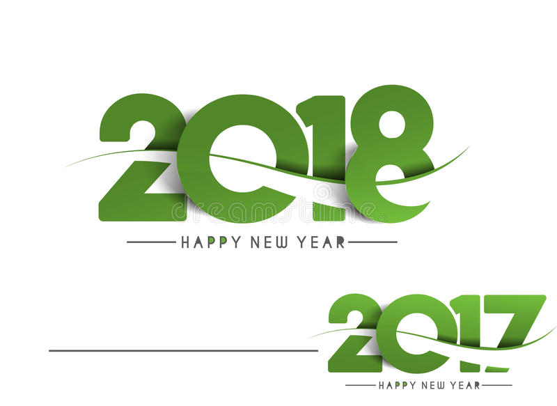 Happy new year 2018 - 2017 Text Design royalty free illustration