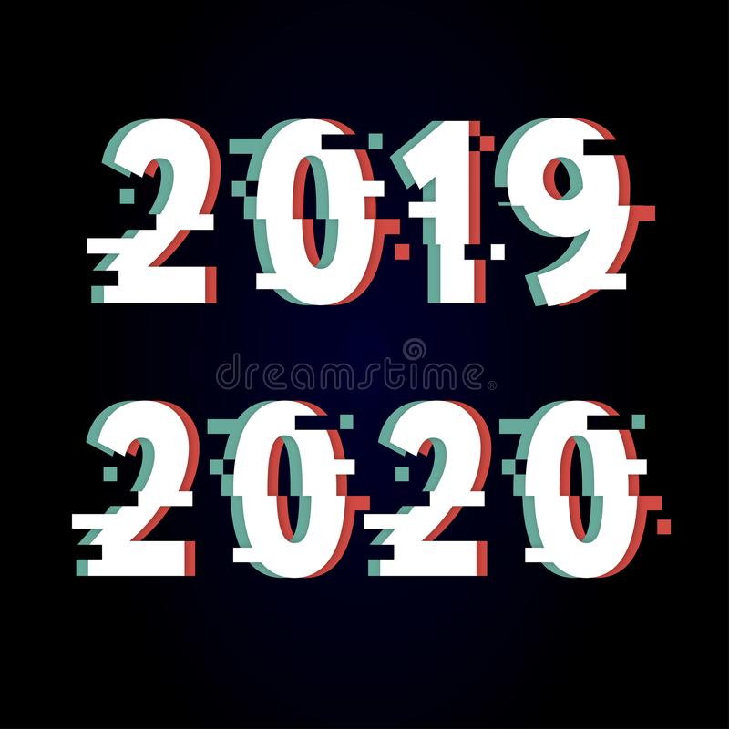Happy New Year 2020 Text Design glitch, Vector illustration. Calendar, number, event, graphic, typography, logo, christmas, abstract, background, celebration royalty free illustration