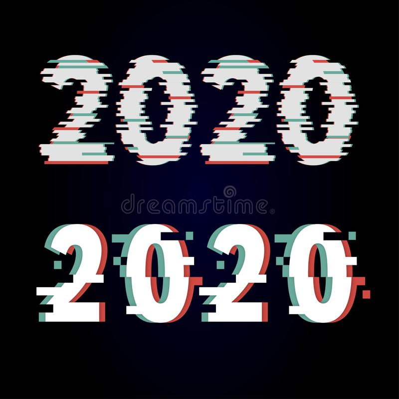 Happy New Year 2020 Text Design glitch, Vector illustration. Calendar, number, event, graphic, typography, logo, christmas, abstract, background, celebration stock illustration