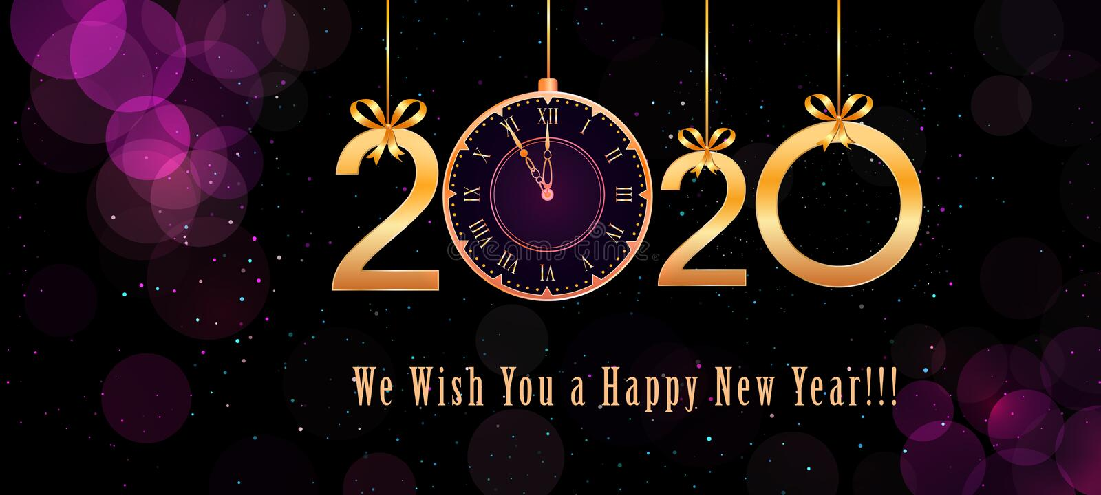 2020 Happy New Year text design with hanging golden numbers, ribbon bows and vintage clock on abstract purple background vector illustration
