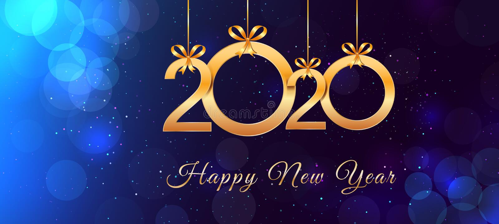 Happy New Year 2020 text design with hanging shiny gold numbers and ribbon bows on blue background with bokeh effect stock illustration