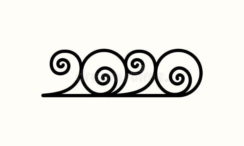 Happy New Year 2020 Text Design Lettering, Vector Logo illustration. vector illustration