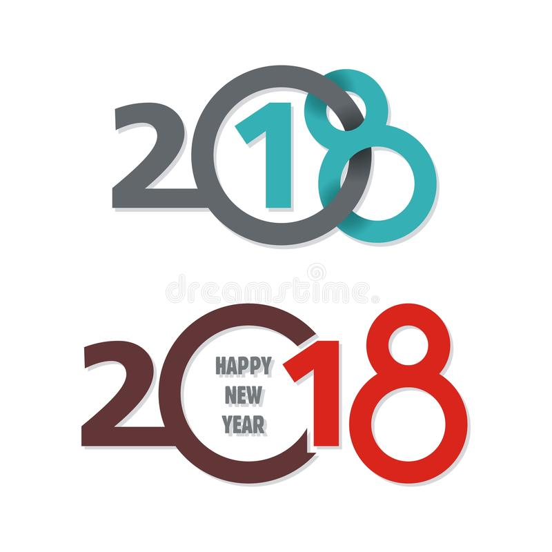 Happy New Year 2018 text design. 2018 happy new year text / number concept design vector illustration