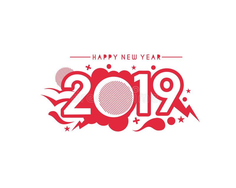 Happy New Year 2019 Text Design Patter vector illustration