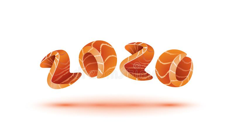 Happy New Year 2020 text design. Salmon style numbers for sushi calendar background. stock photos