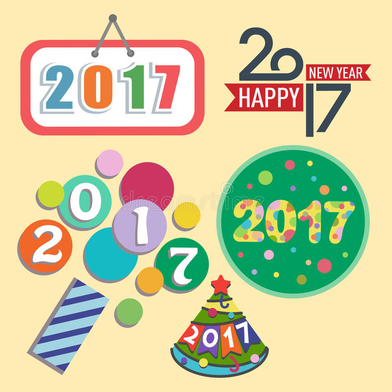Happy new year 2017 text design vector creative graphic celebration greeting party date illustration stock illustration