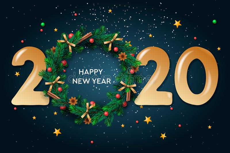 Happy New Year 2020 text design. Vector greeting illustration with and Christmas wreath on dark background.  royalty free illustration