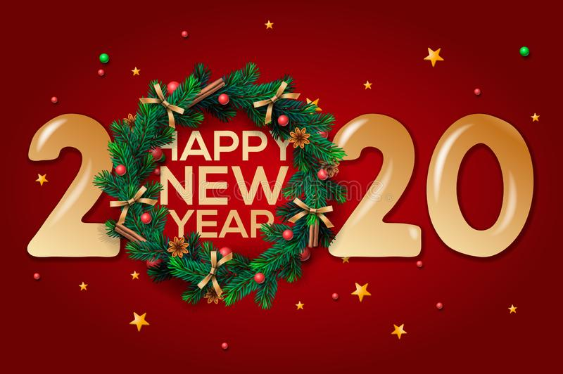 Happy New Year 2020 text design. Vector greeting illustration with and Christmas wreath on red background. Happy New Year 2020 text design. Vector greeting stock illustration