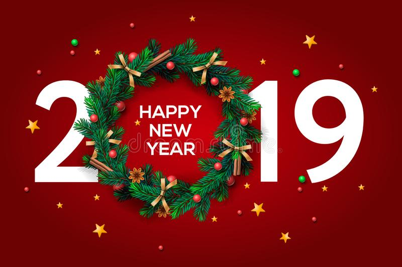 Happy New Year 2019 text design. Vector greeting illustration with and Christmas wreath on red background stock illustration