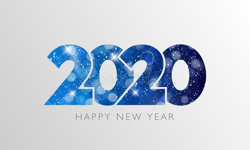 Happy New Year 2020 text design stock image