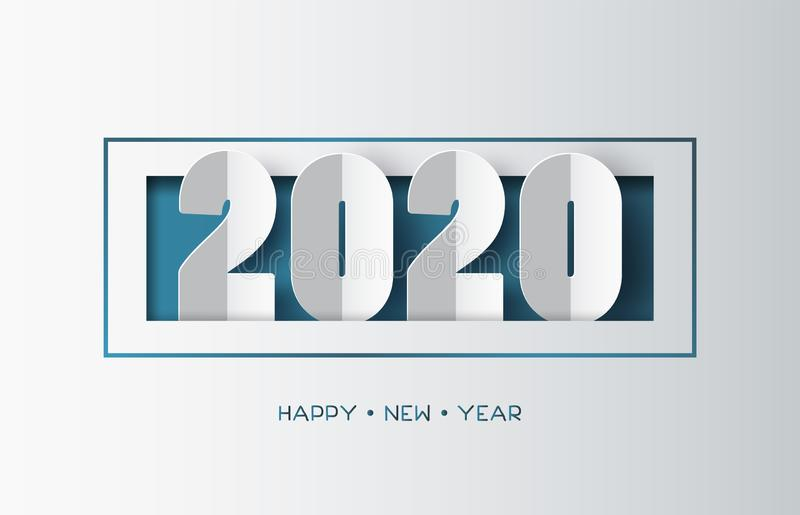 Happy new year 2020 text design on white background.. stock illustration