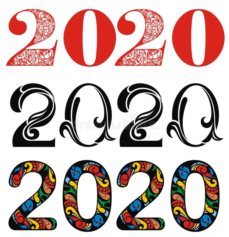 Vector Happy New Year 2020 Text Design stock photo