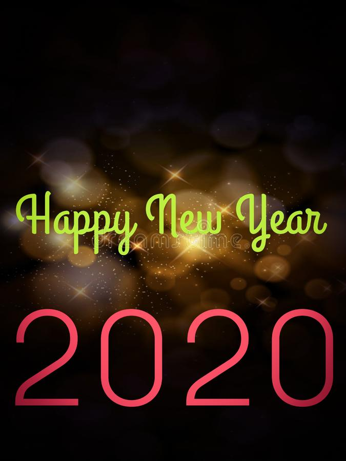 happy new year 2020 text displayed on shining star abstract background vector illustration