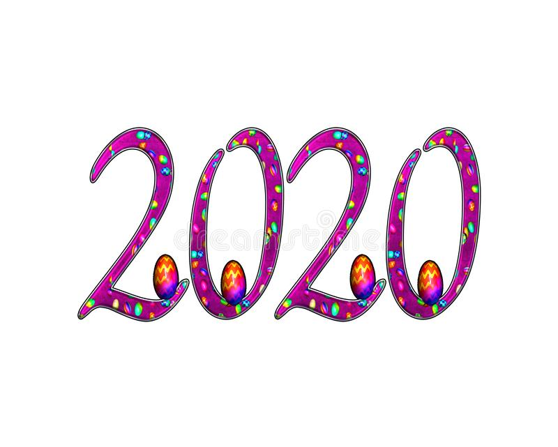 Happy New Year 2020 Text Effect PNG royalty free illustration