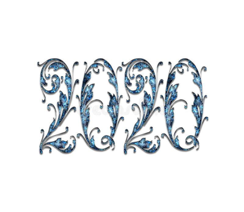 Happy New Year 2020 Text Effect PNG stock illustration