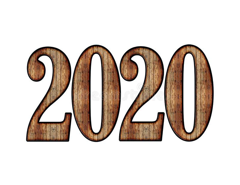 Happy New Year 2020 Text Effect PNG vector illustration