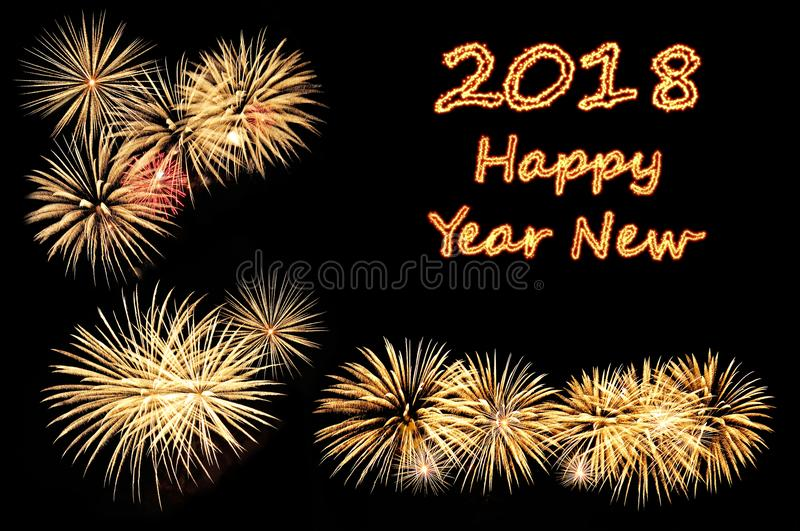 Happy new year 2018 text of fire text and fireworks stock image