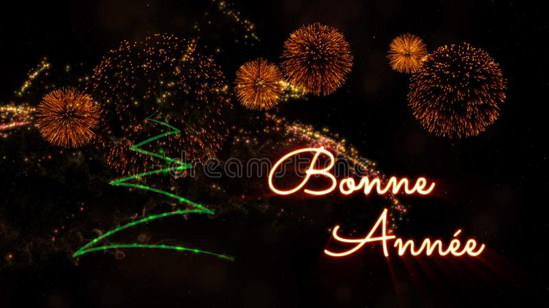 Happy New Year text in French \'Bonne Annee\' over pine tree and f. Happy New Year text in French 'Bonne Annee' over pine tree with sparkling particles and royalty free stock image