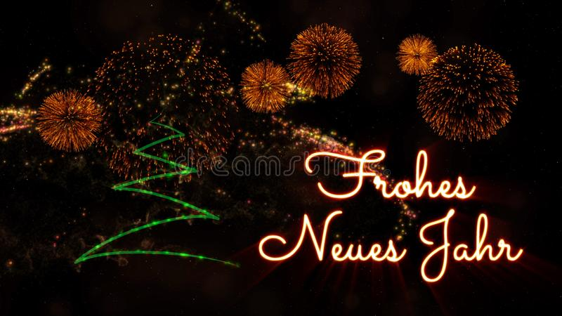 Happy New Year text in German \'Frohes Neues Jahr\' over pine tree. Happy New Year text in German 'Frohes Neues Jahr' over pine tree with sparkling particles and royalty free stock photography