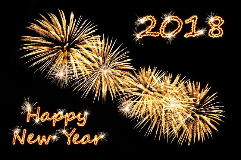 Happy new year 2018 text of gold color and golden fireworks stock photos