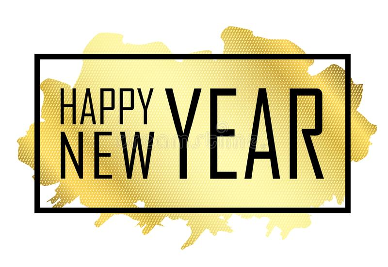 Happy New Year text. Gold Happy New Year or Christmas isolated background. Black border frame. Golden texture for card royalty free illustration