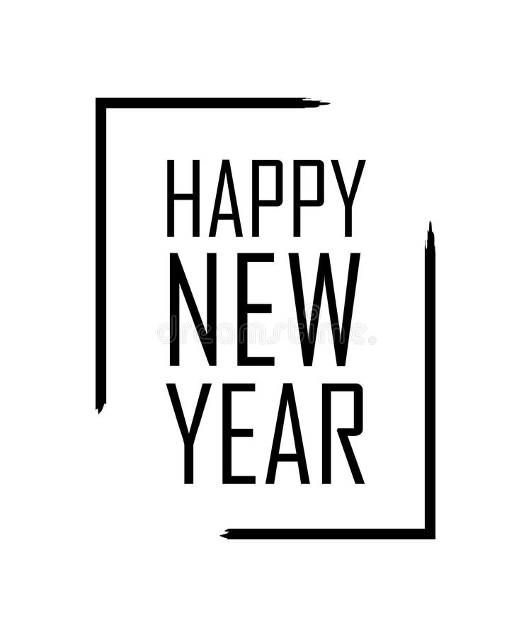 Free Happy New Year Text In Focus Frame. Black Border And Font Happy New Year, Isolated On White Background. Stringent Design Stock Photography - 116485802