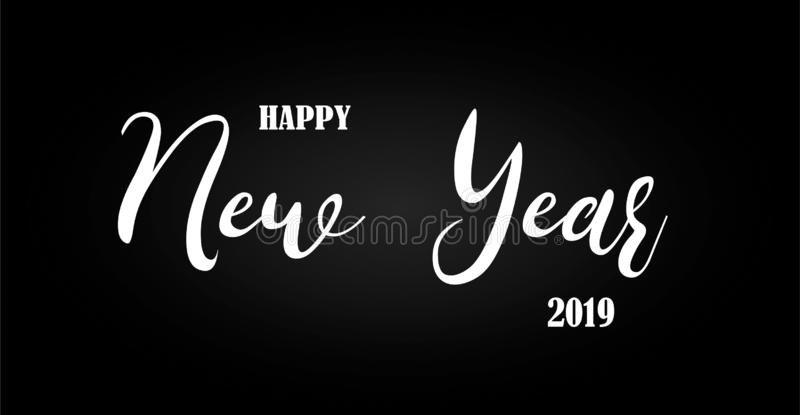Happy New Year 2019 Text Isolated Background stock illustration