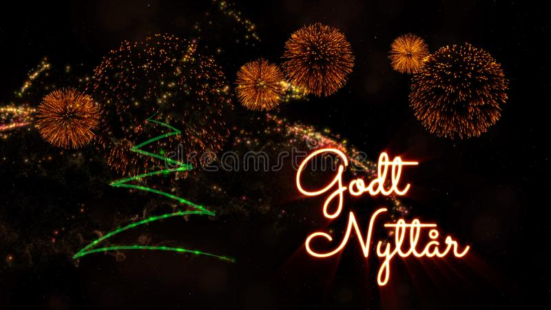 Happy New Year text in Norwegian \'Godt Nyttar\' over pine tree an. Happy New Year text in Norwegian 'Godt Nyttar' over pine tree with sparkling particles and stock photos