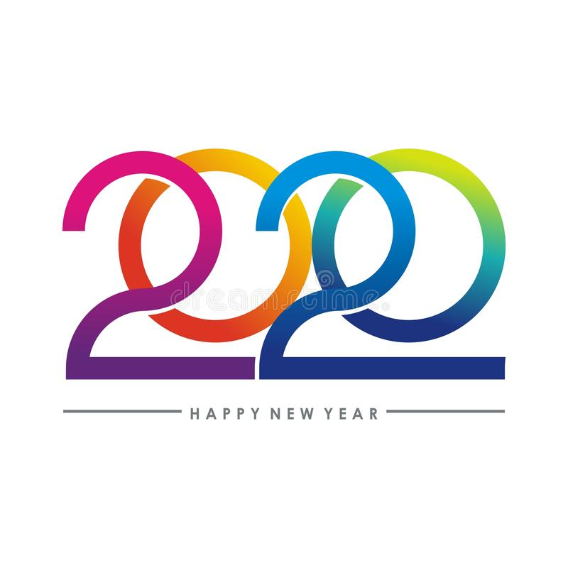 Happy new year 2020 text - number design royalty free stock photo