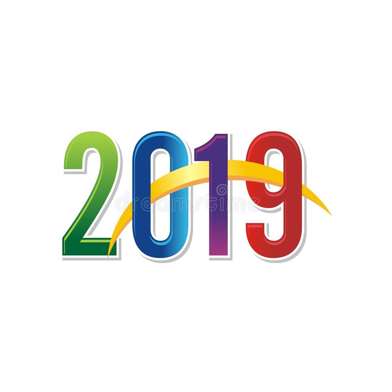 2019 happy new year text - number design stock illustration