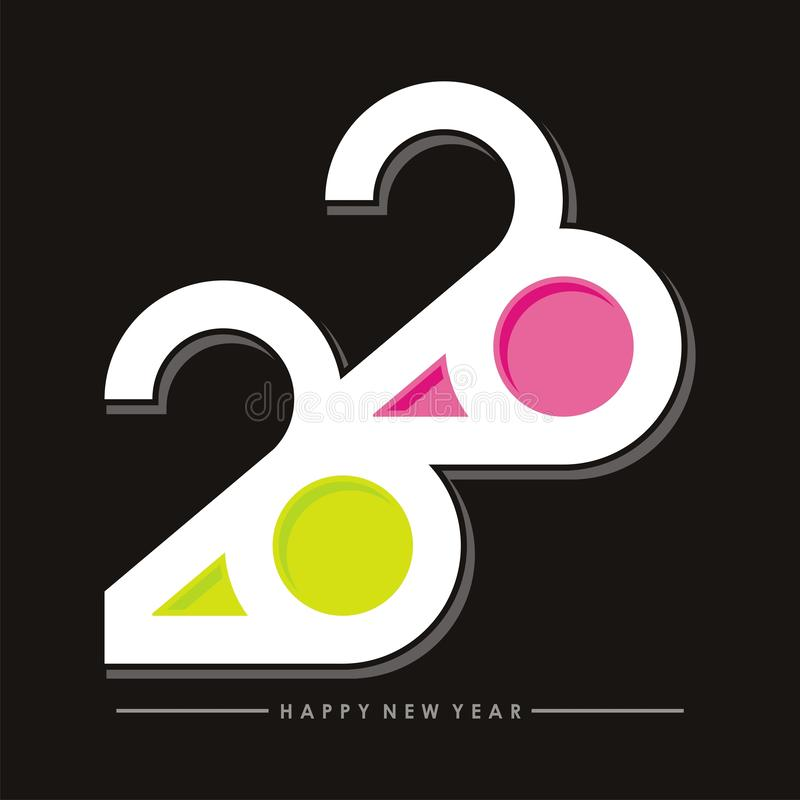 2020 happy new year text - number design royalty free illustration