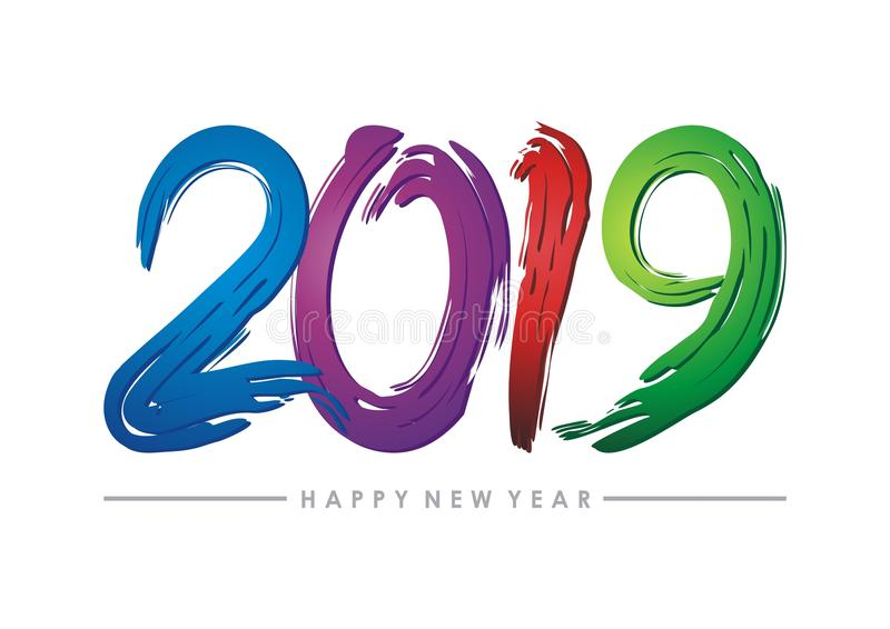 2019 happy new year text - number design vector illustration