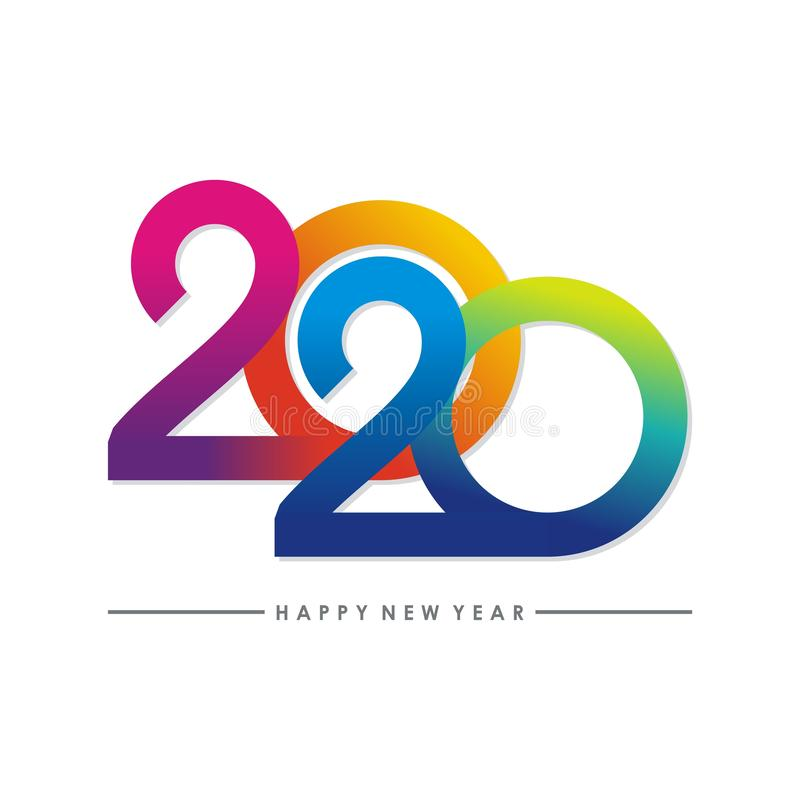 Happy new year 2020 text - number design stock illustration
