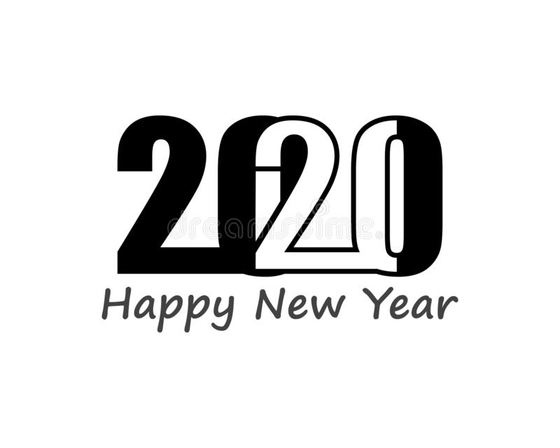Happy new Year 2020 text, number design template icon vector illustration