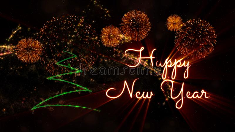 Happy New Year text over pine tree and fireworks stock images