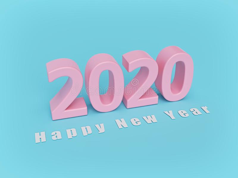 Happy new year 2020 text. pastel colors. minimal concept. 3d rendering stock illustration