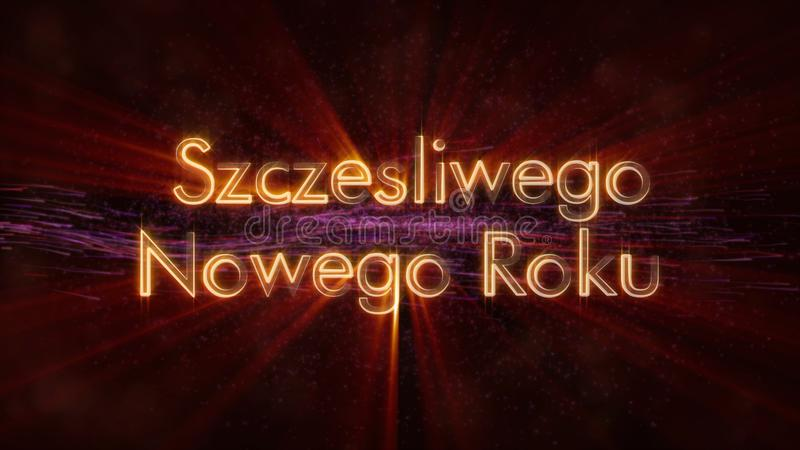 Happy New Year text in Polish Szczesliwego Nowego Roku loop animation over dark animated background. With swirling stars and floating lines stock image