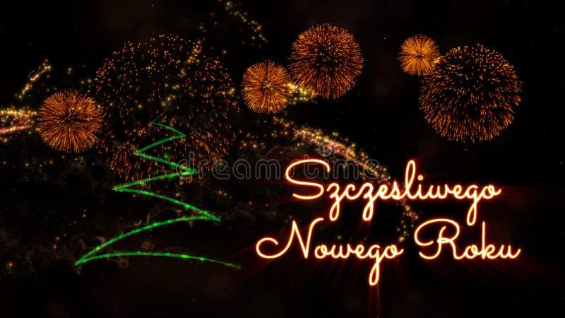Happy New Year text in Polish \'Szczesliwego Nowego Roku\' over pi stock photo