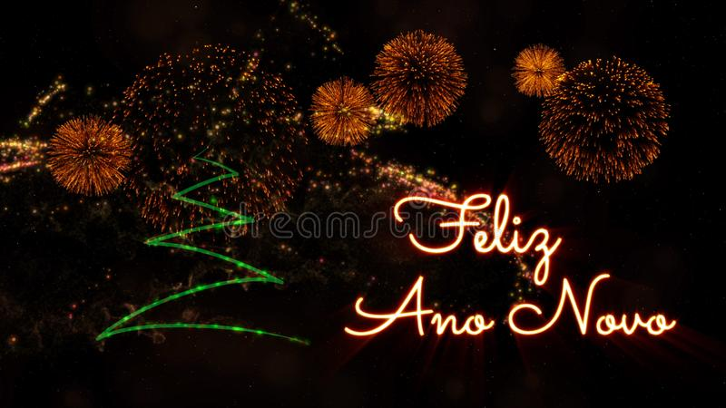 Happy New Year text in Portuguese \'Feliz Ano Novo\' over pine tre stock images