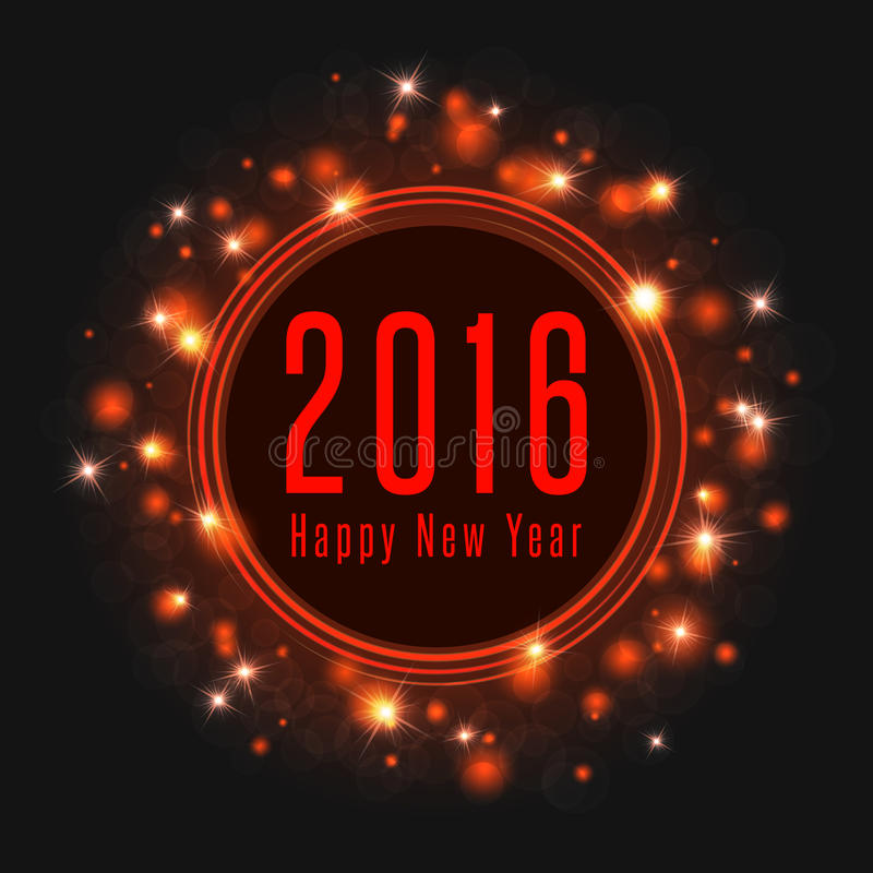 Happy New Year text 2016 poster, frame of magic shine light, mockup holiday greeting card royalty free illustration