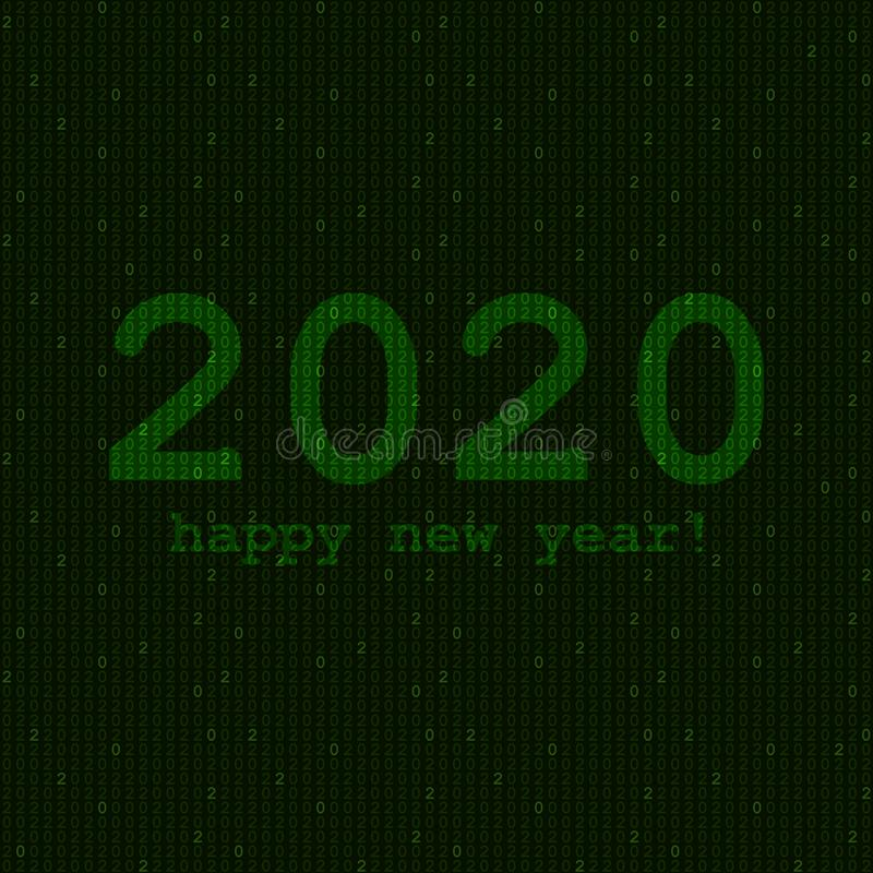 Happy new year text on repetitive background Vektorgrafik Chlorgewebegrün 0 2 Zahlen Binärkode lizenzfreie abbildung