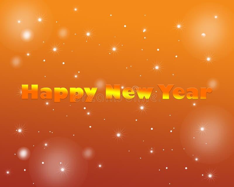 Happy New Year Shining Stars Glittering. Happy New Year text with Shining Stars Poster, Glittering effect , Wallpaper , Greeting Card , yellow orange brown royalty free illustration