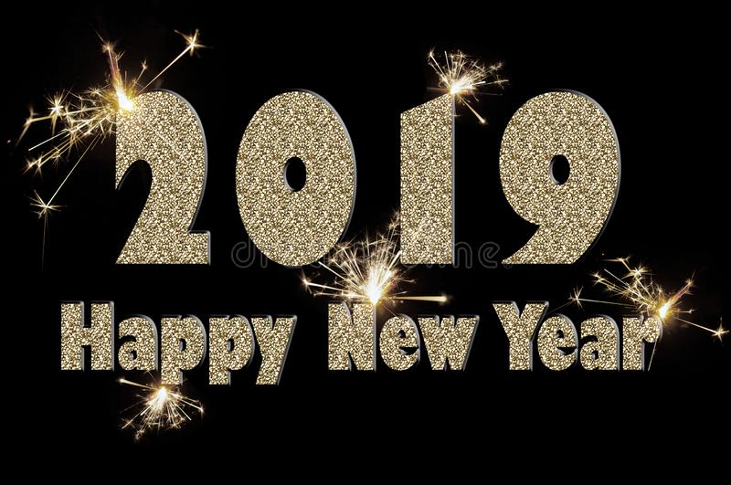 Happy new year 2019 text of silver color on black stock images
