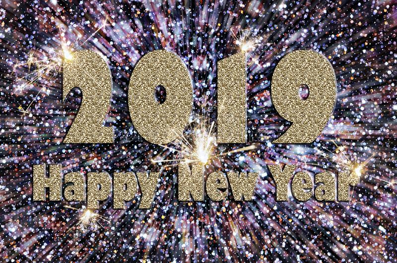 Happy new year 2019 text of silver color stock photography