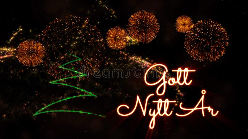 Happy New Year text in Swedish \'Gott Nytt Ar\' over pine tree and. Happy New Year text in Swedish 'Gott Nytt Ar' over pine tree with sparkling particles and royalty free stock photo