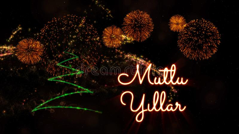 Happy New Year text in Turkish \'Mutlu Yillar\' over pine tree and. Happy New Year text in Turkish 'Mutlu Yillar' over pine tree with sparkling particles and stock image