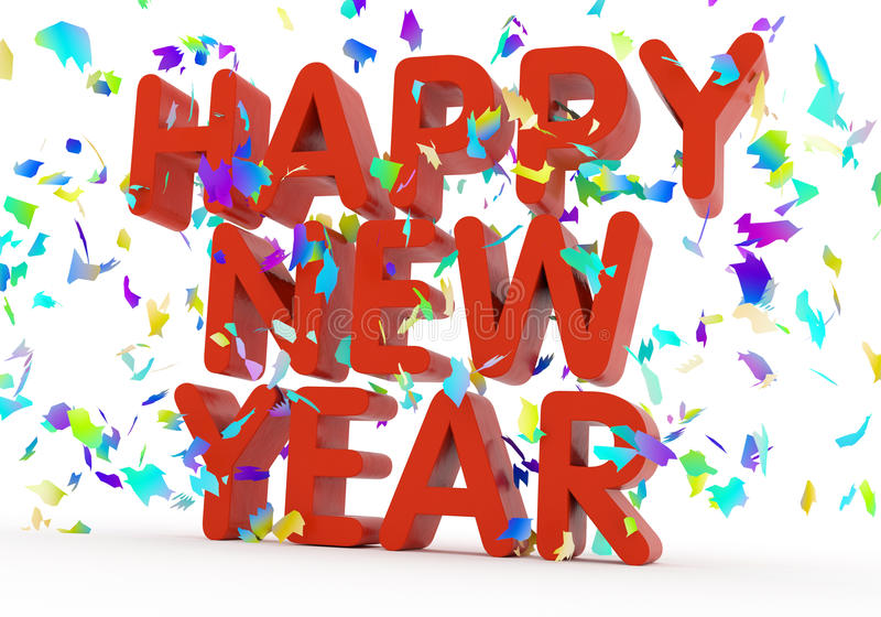 Happy New Year. Text on white background stock illustration