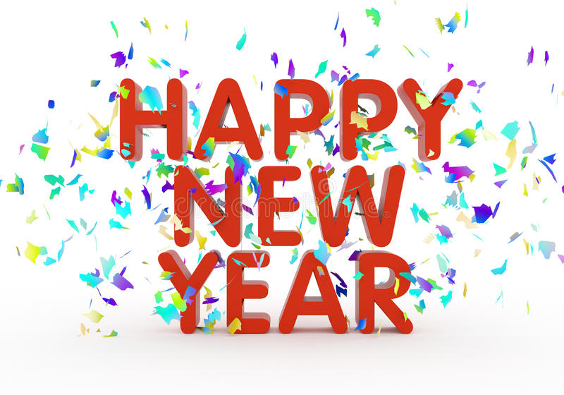 Happy New Year. Text on white background royalty free illustration
