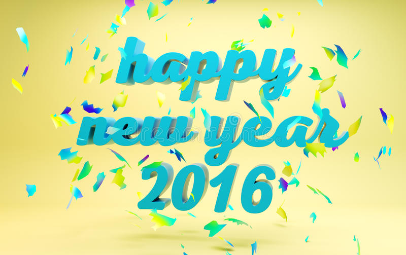 Happy New Year 2016 text. On yellow background stock illustration
