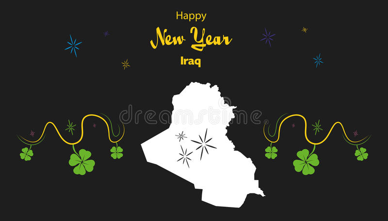 Happy New Year theme with map of Iraq. Happy New Year illustration theme with map of Iraq royalty free illustration